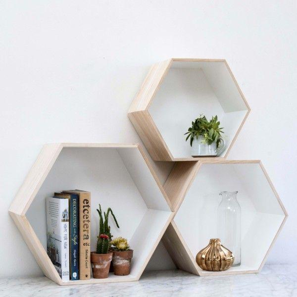 Set of 3 Hexagon Box Shelves