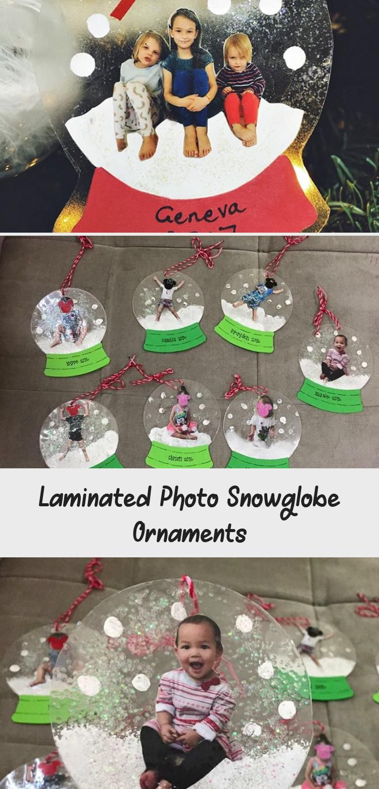 Laminated Photo Snowglobe Ornaments Ornaments diy kids