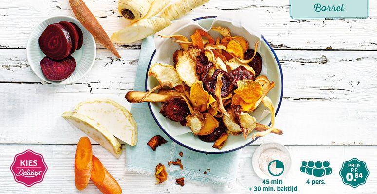 Recept Voor Groentechips Lidl Delicieux Chips Lente Voedsel Ideeen Eten En Drinken Zoete Aardappelen