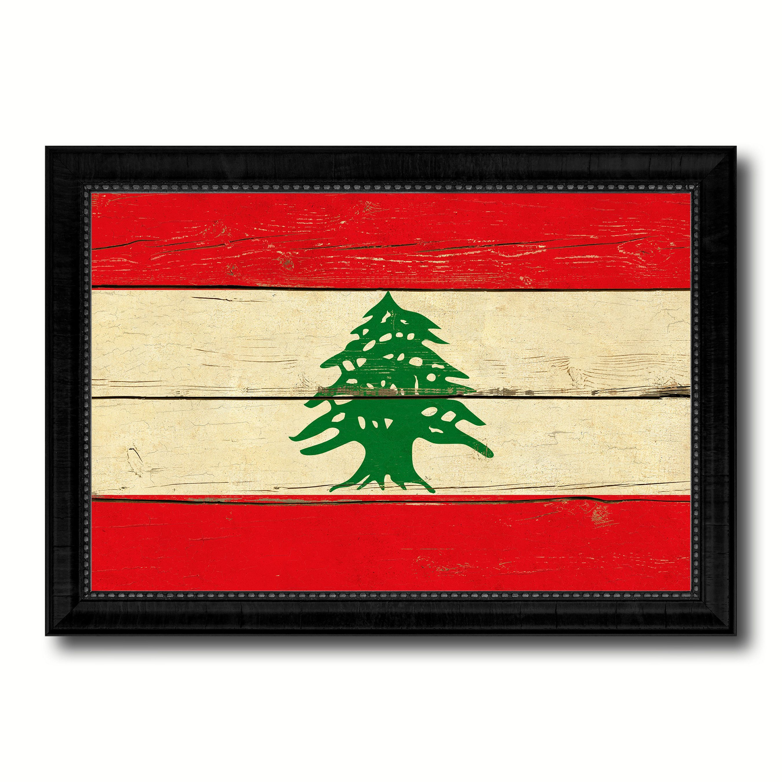 Lebanon Country Flag Vintage Canvas Print with Black Picture Frame ...