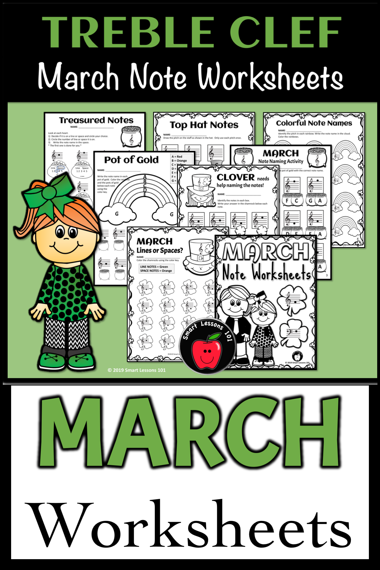 March Music Note Naming Worksheets