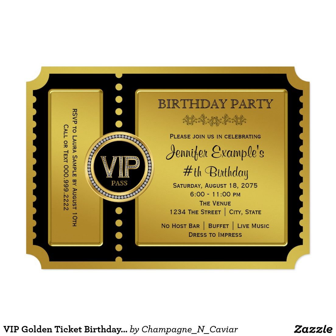 VIP Golden Ticket Birthday Party Card | Golden ticket, Vip and Birthdays