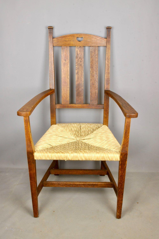 Arts Crafts Oak Rush Seat Chair C1900 Antiques Atlas Arts