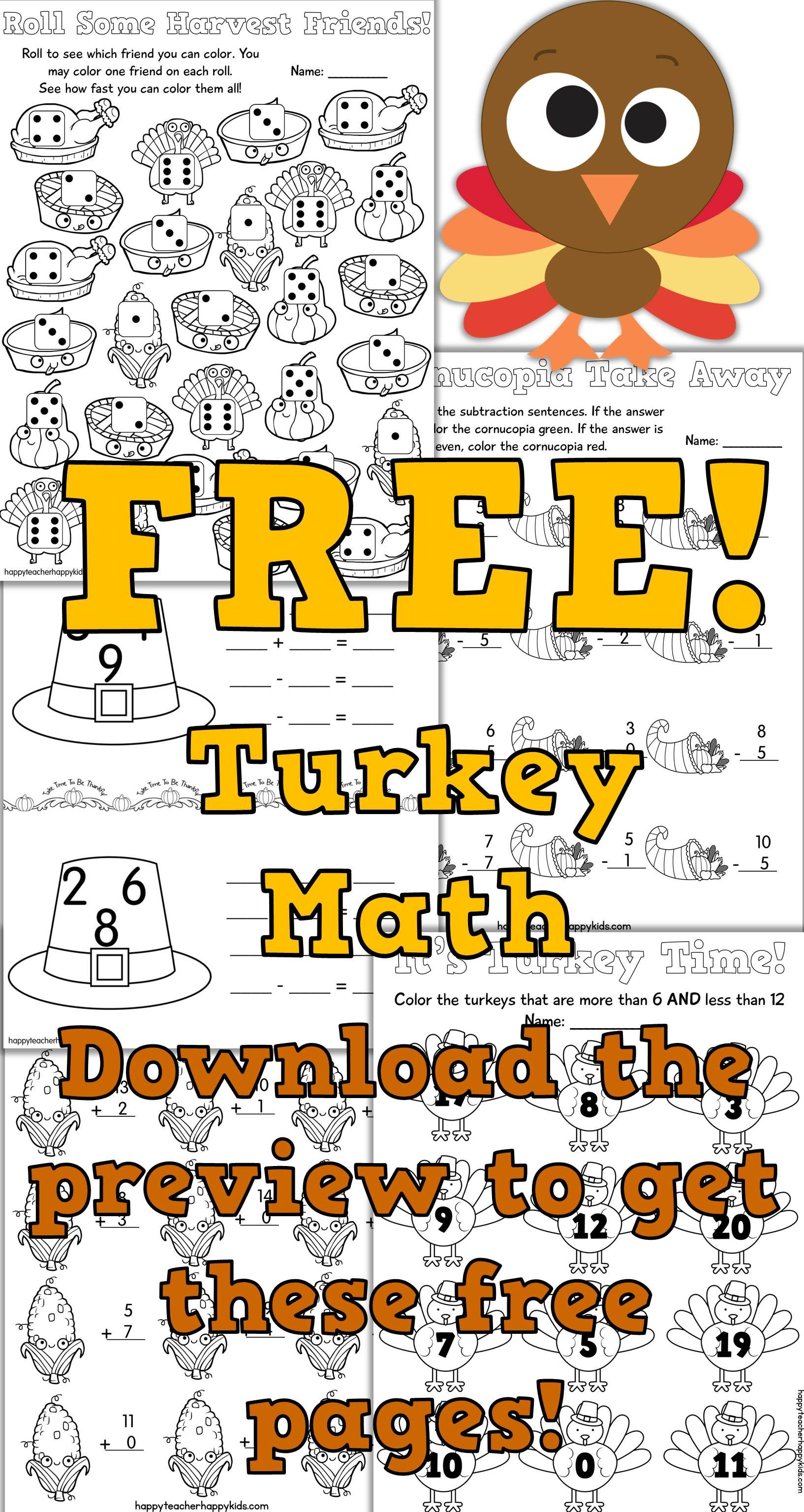 Turkey Math Activities, Games, & Fact Practice | Pinterest | Kinder ...