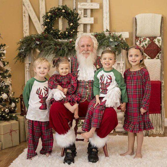 Kids Christmas Pajamas - Plaid Flannel Pants - Christmas Nightgown