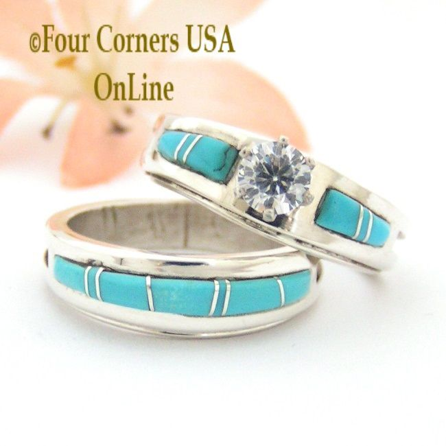 Size 7 1 2 Turquoise Engagement Bridal Wedding Ring Set Native American Wilbert Muskett Jr WS 1558