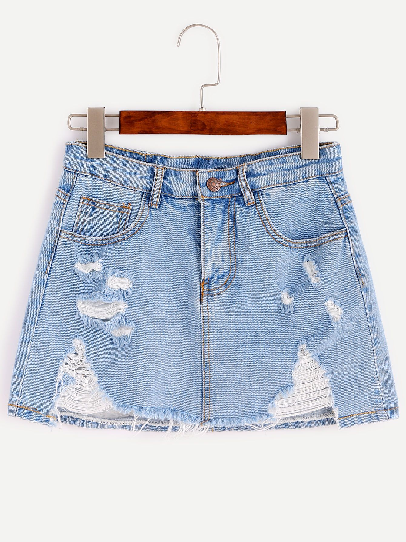 b6a1aa1677 Shop Blue Bleach Wash Distressed Denim Skirt online. SheIn offers Blue Bleach  Wash Distressed Denim Skirt & more to fit your fashionable needs.