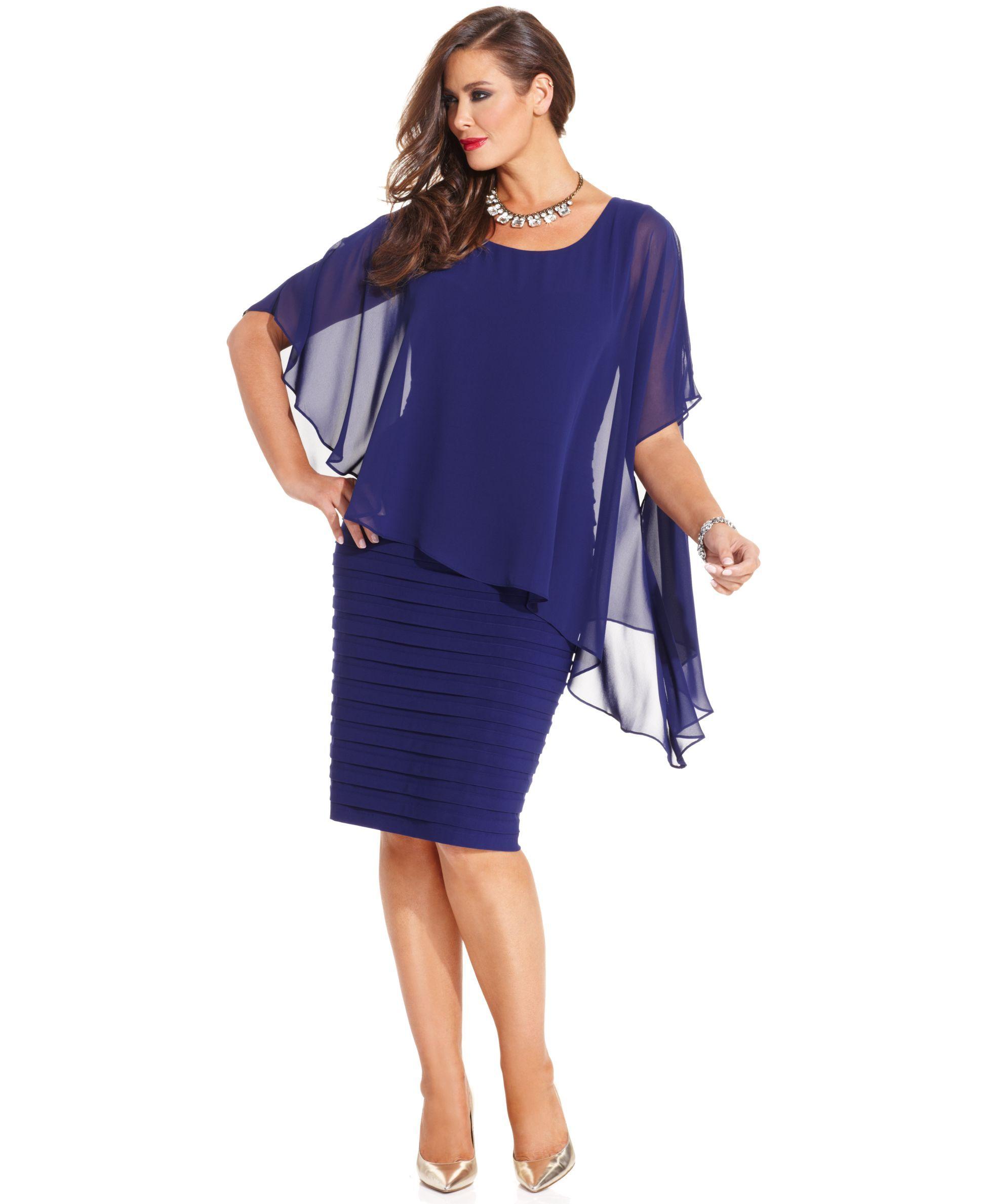 cb0d01d5 Betsy & Adam Plus Size Dress, Three-Quarter-Sleeve Chiffon Capelet Sheath -  Plus Size Dresses - Plus Sizes - Macy's