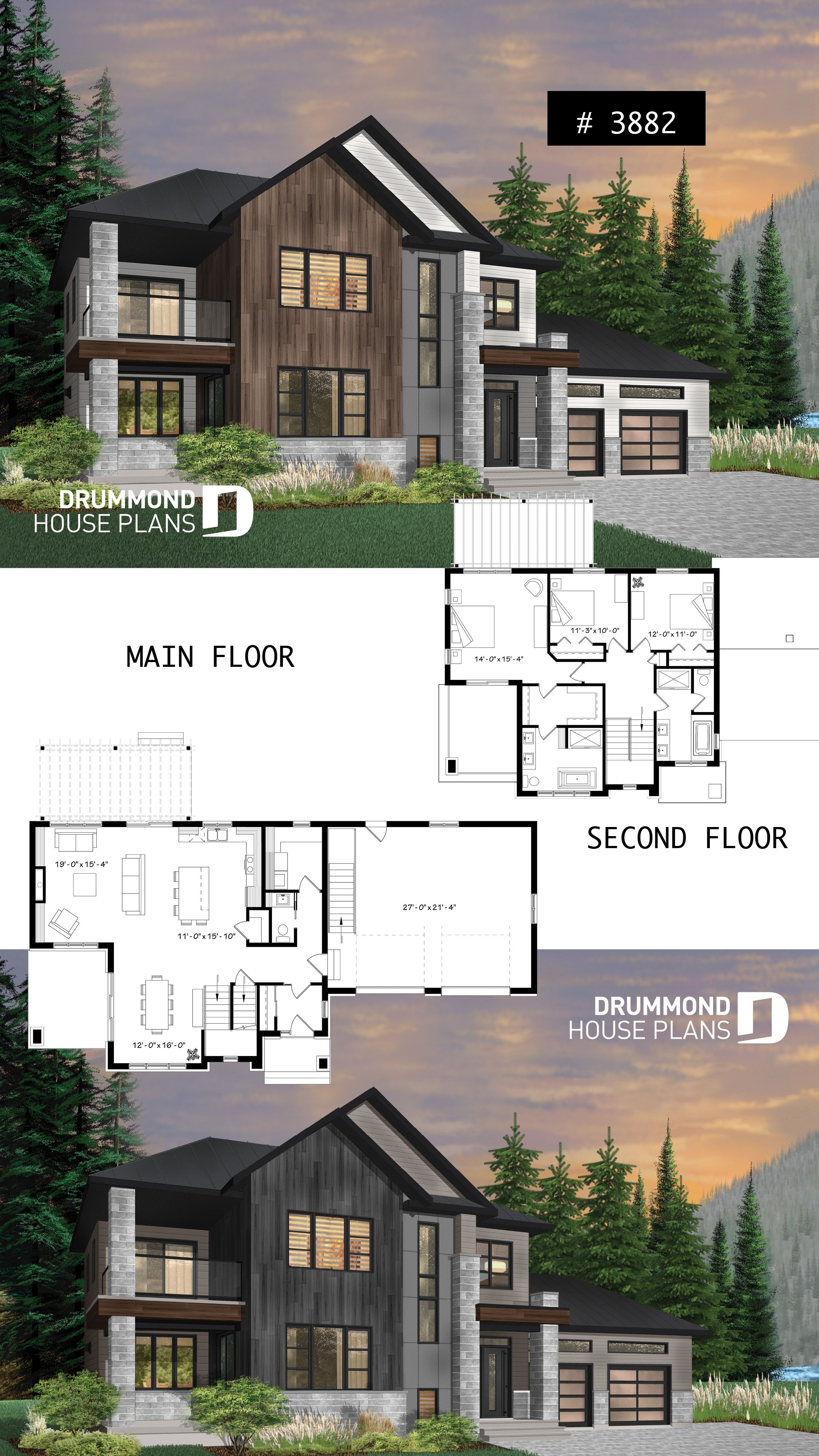 Modern cottage with 3 covered terraces large master suite open floor plans 2 car garage