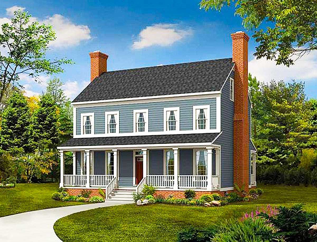 Plan 81263w Sweeping Raised Porches In 2021 Colonial House Plans Country Style House Plans Country House Plans