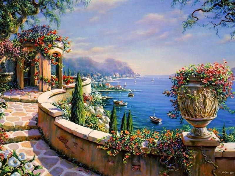 Mediterranean Sea Paint By Numbers Kit For Adults Painting