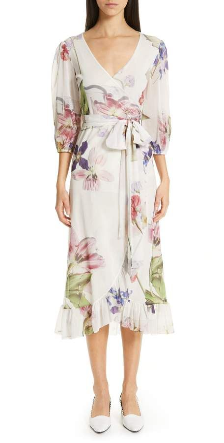 4572aaba Women's Ganni Floral Print Mesh Dress, Size 4 US / 36 EU - White in ...