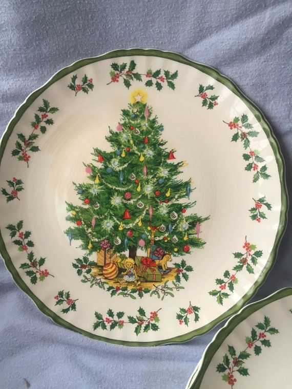 Johnson Brothers Royal Staffordshire Victorian Christmas Tree Plate Lot of Vintage Christmas China English Pottery Art Dinnerware & Hey I found this really awesome Etsy listing at https://www.etsy ...