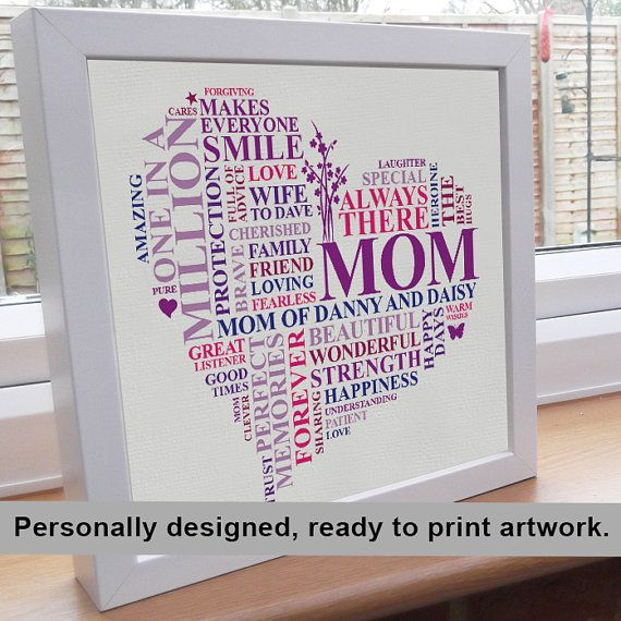 Gift for mother words to describe your mom in the shape for Personalised word art template