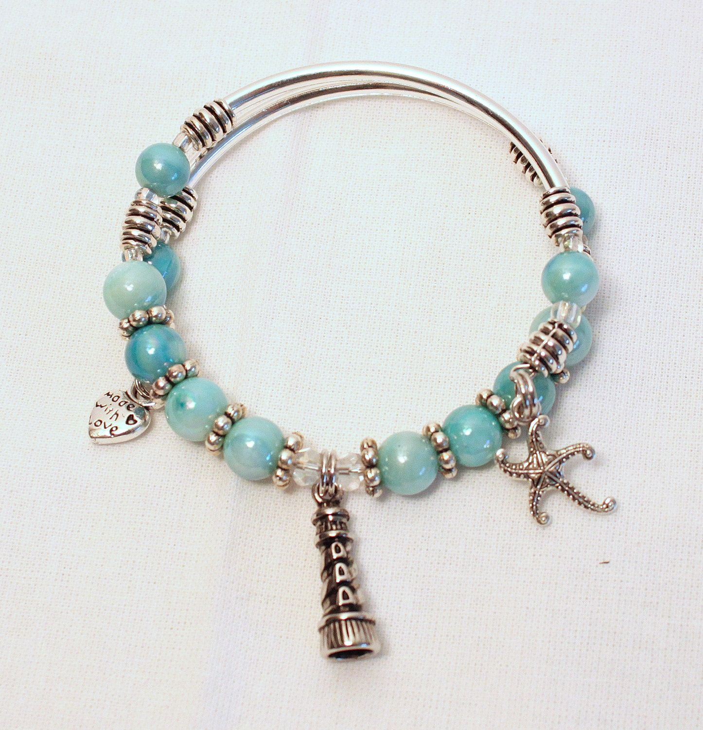 in stainless bracelet charm starfish set beach bangle handcrafted steel ocean collections beads with products and bracelets