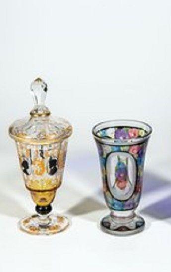 Deckelpokal und zwei Vasen Friedrich Pietsch, Steinschönau und Fachschule