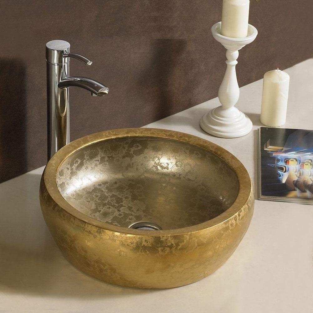 Bathroom lights bathroom wall lights artemis 900 rounded led strip - Modern Counter Top Basin Gold Ceramic