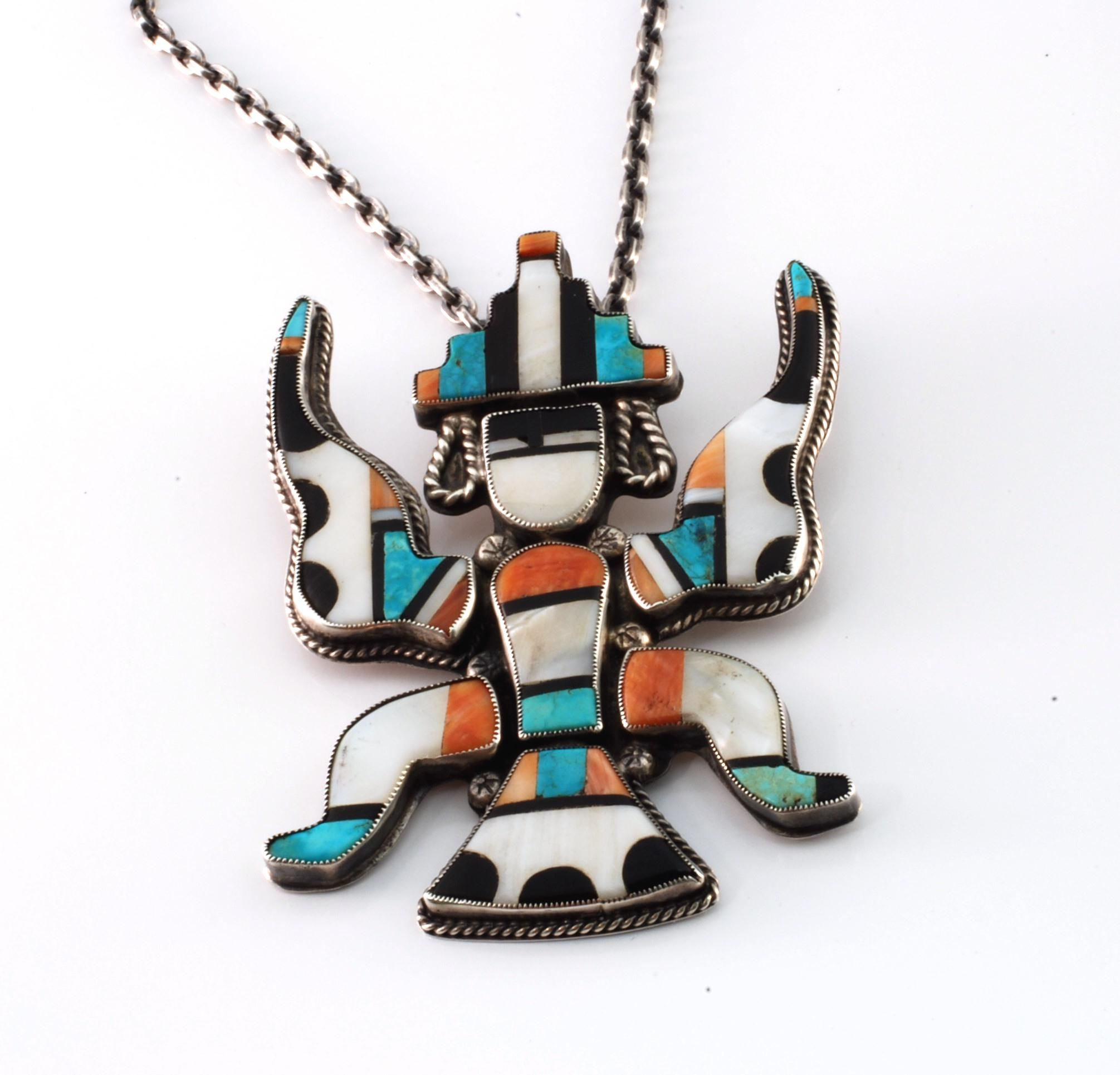 by fred american shop pendant pend sr zuni native hand jewelry begay a reversible inlayed
