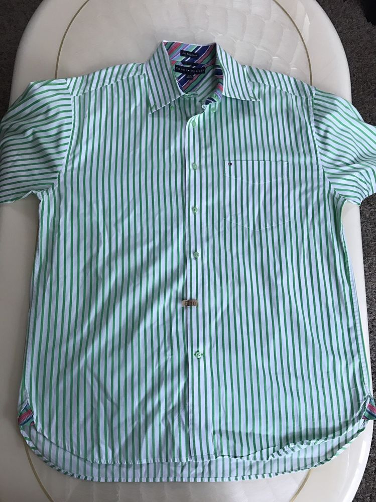 c2a6011b Mens Tommy Hilfiger 80s 2 Ply Fabric Long Sleeve Button Front Shirt Size L  Green | eBay