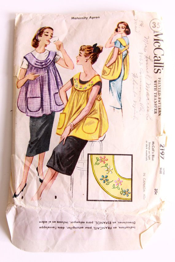 McCalls 2197 - Maternity Apron - One Size Fits All - 1957 | Apron ...