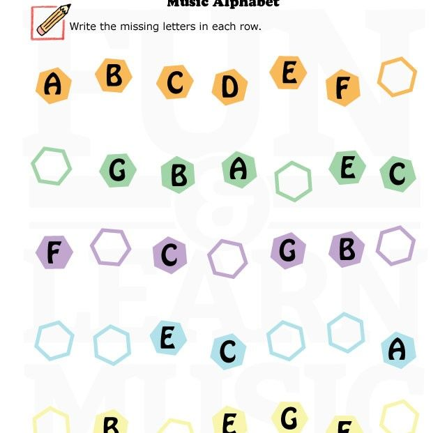 Fun music worksheet for learning the music alphabet Lets color – Fun Music Worksheets
