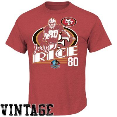 9512cdb20 Jerry Rice San Francisco 49ers Hall of Fame Retro Action T-Shirt - Scarlet