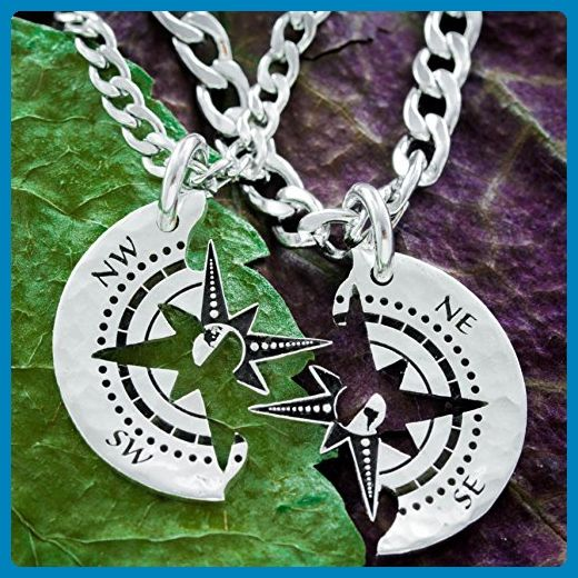 Compass couples necklaces engraved silver best friends forever compass couples necklaces engraved silver best friends forever map necklace world gumiabroncs Image collections