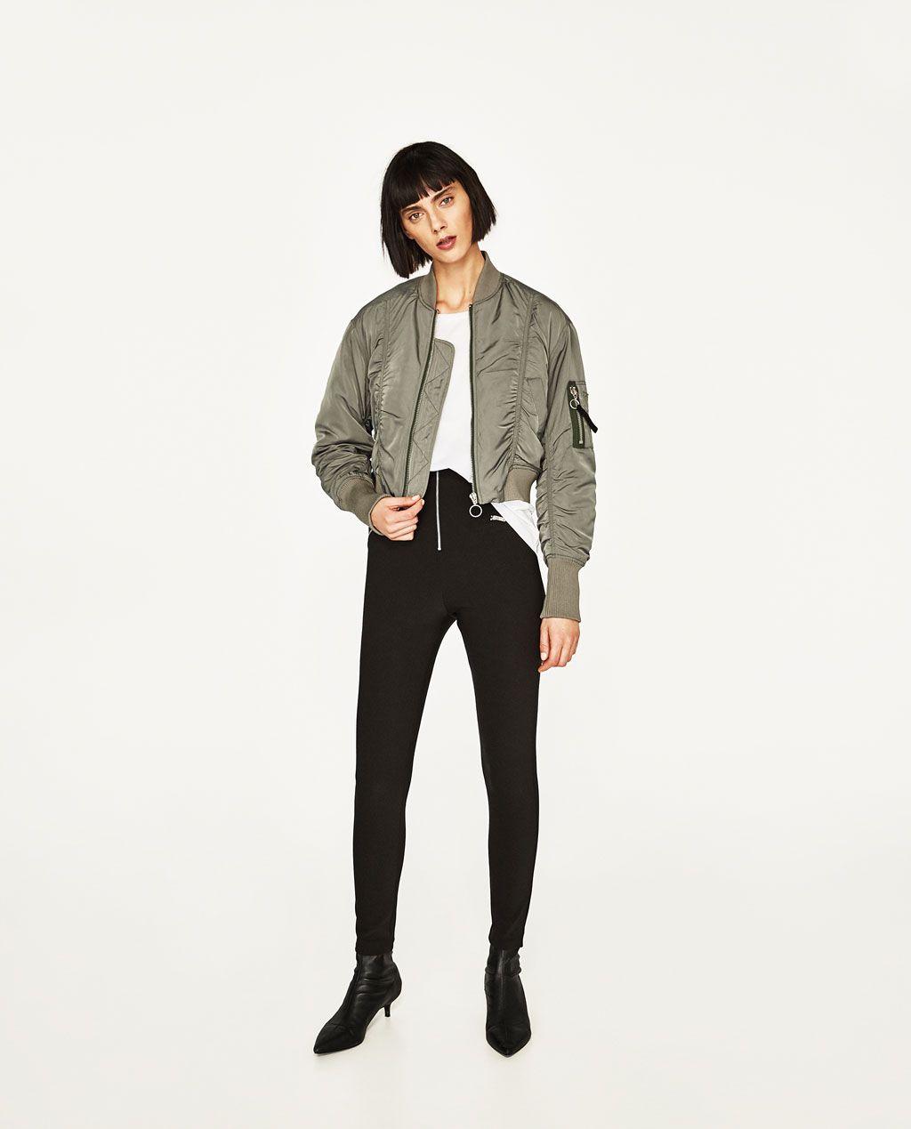 Womens khaki bomber jacket zara