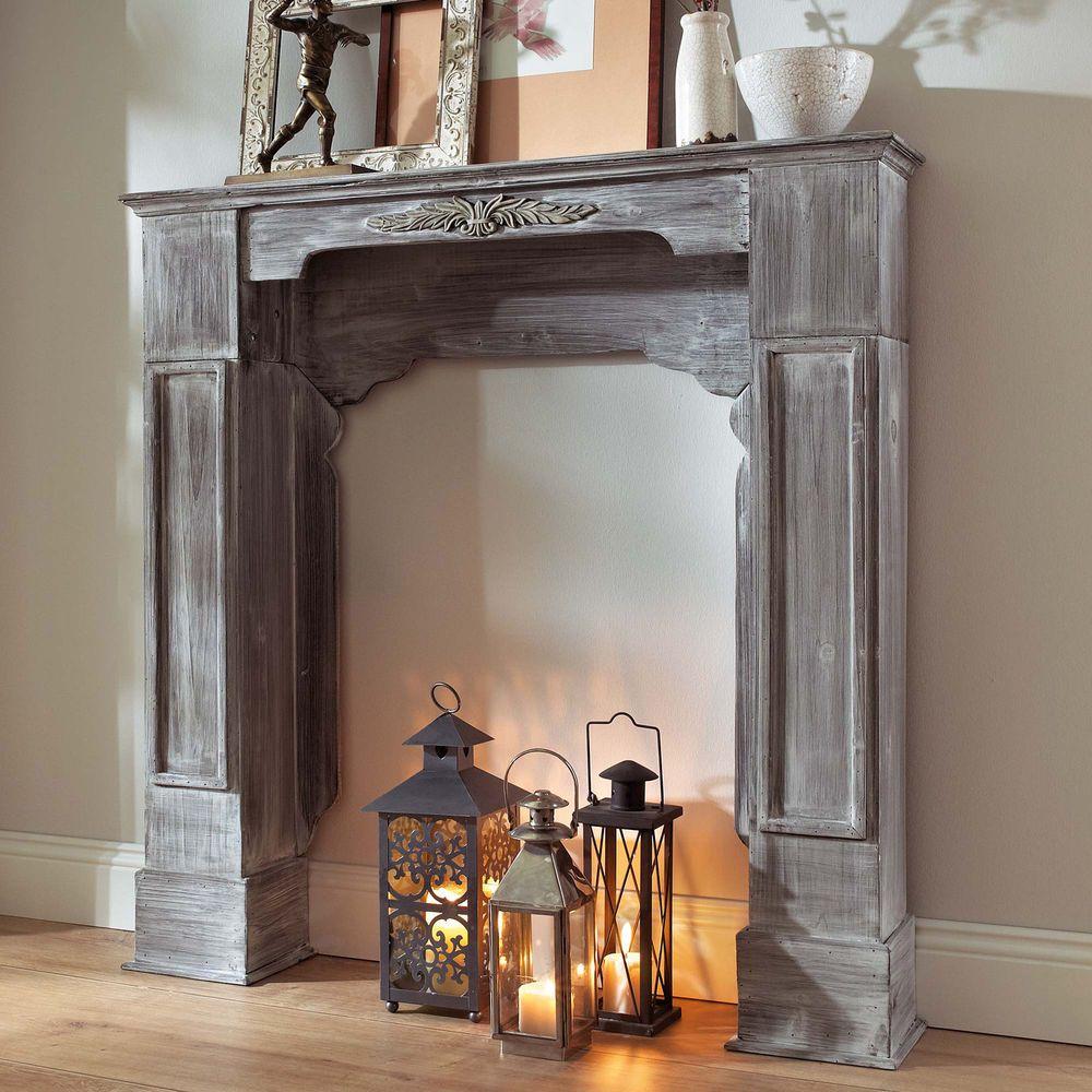 Shabby Stil Möbel kaminumrandung kaminkonsole kaminsims antik look shabby chic vintage