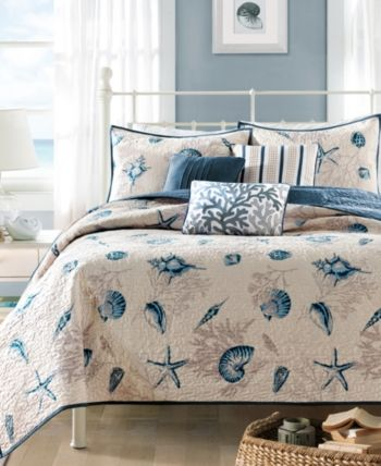 Madison Home Usa Bayside 6 Pc Quilted King Coverlet Set Bedding