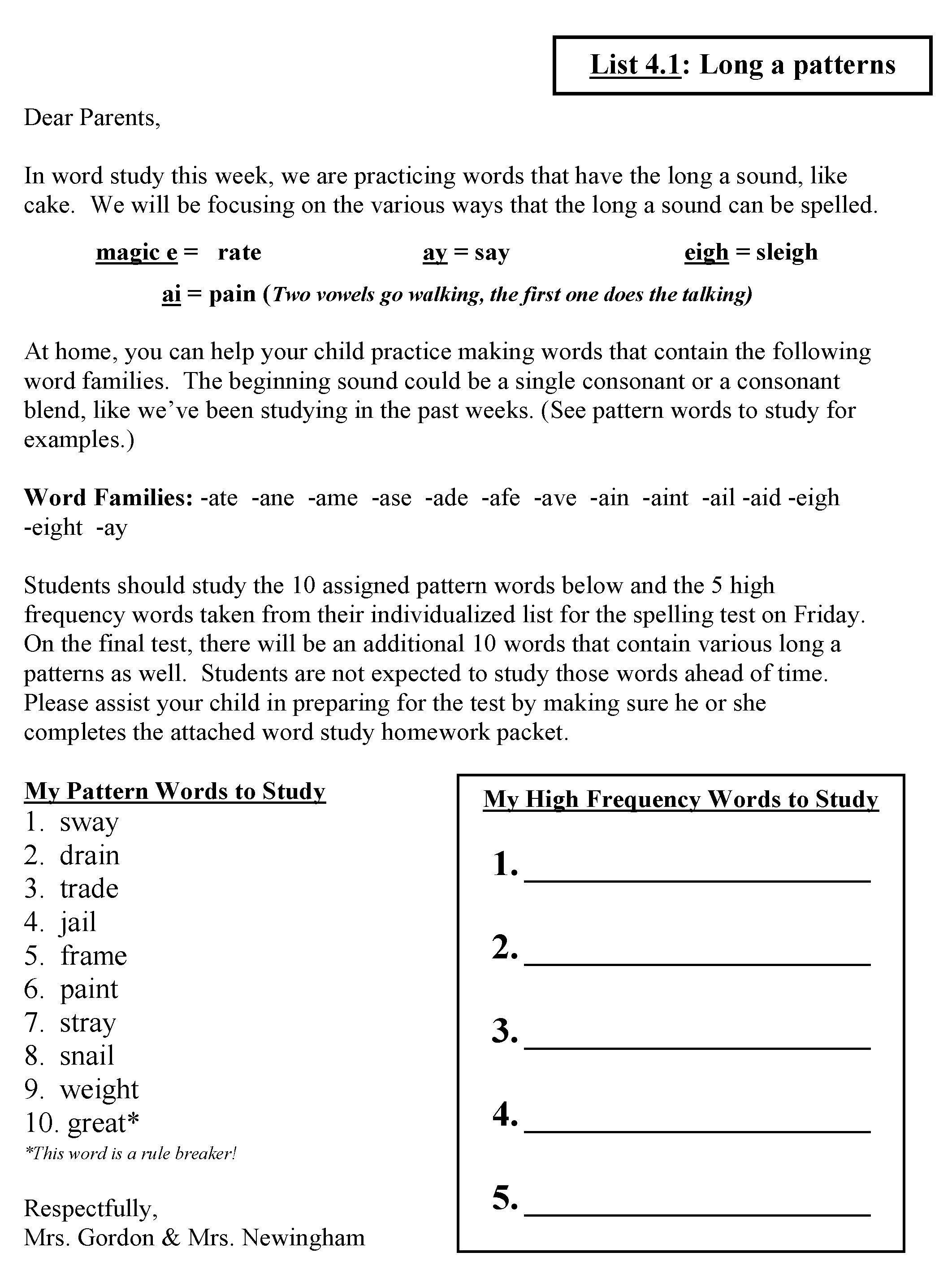 Words Their Way Hw Letter