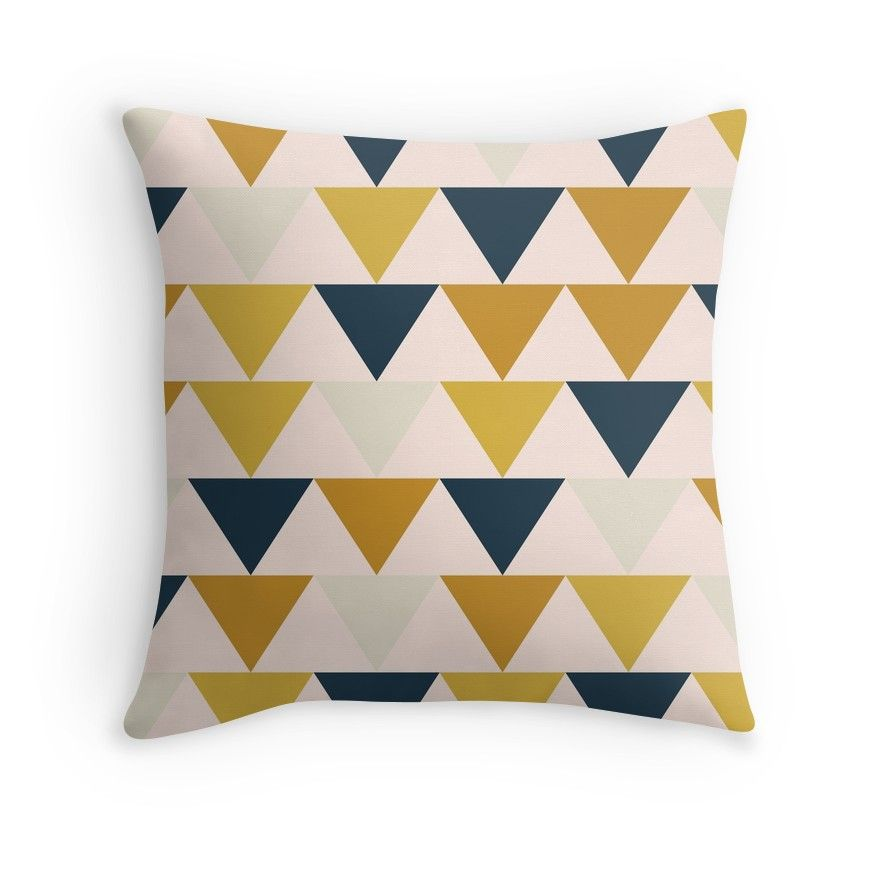 'Arrow Pattern In Mustard Yellows, Navy Blue, And Blush