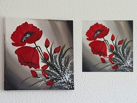 Blumen Malen Acryl Rot Leicht Fur Anfanger Easy Flowers Acrylic Painting Red For Beginners Youtube In 2020 Blumen Malen Acryl Blumen Malen Acrylmalerei Blumen