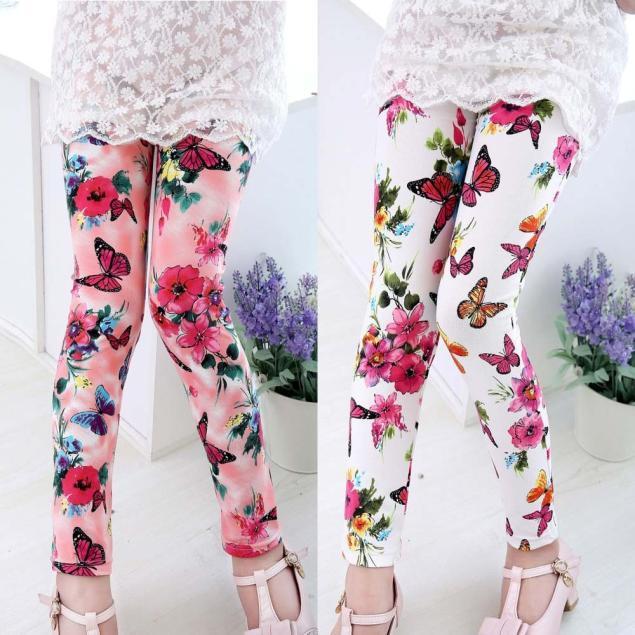 4beb83e1bc Kids Baby Girls Printed Flower Knee Pants Tight Toddler Leggings ...