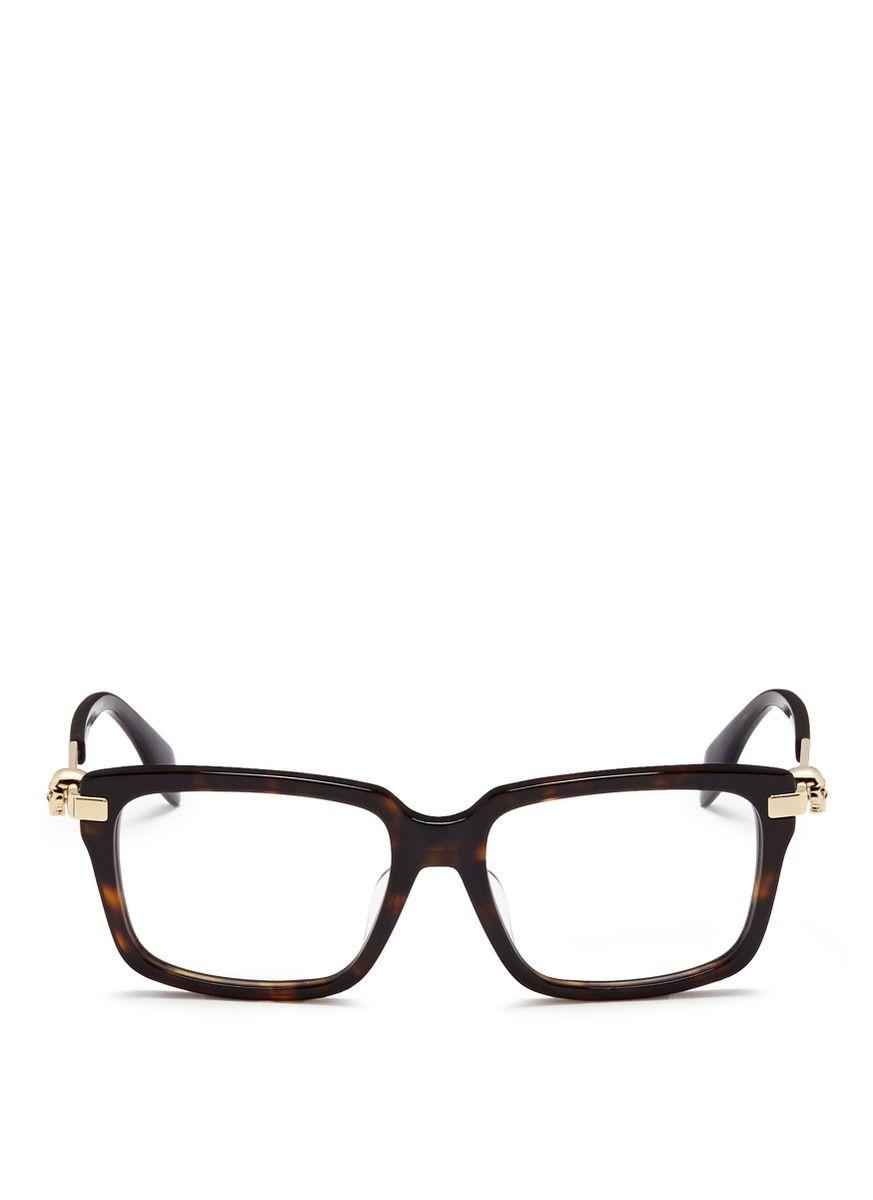 272c75716 Alexander McQueen | Animal Skull Stud Tortoiseshell Acetate Optical Glasses  | Lyst