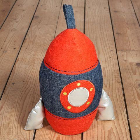 Fabric Doorstop Rocket by Floss and Rock