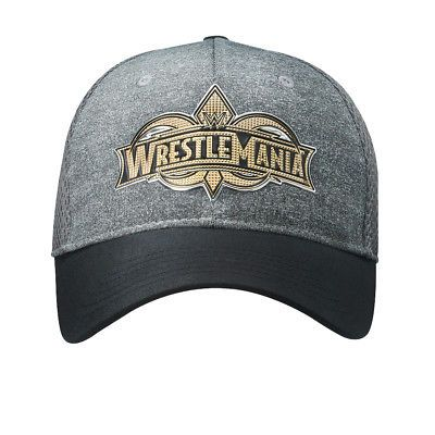 1bb1cb8474c Official WWE Authentic WrestleMania 34 Grey Gold Logo Baseball Hat One Size   WWE  WWEShop