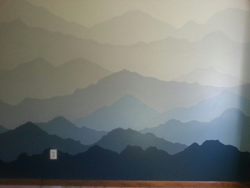 Painted mountains mural ~ 12.5' X 8' perfect for boys bedroom. ...den area. ...and ...