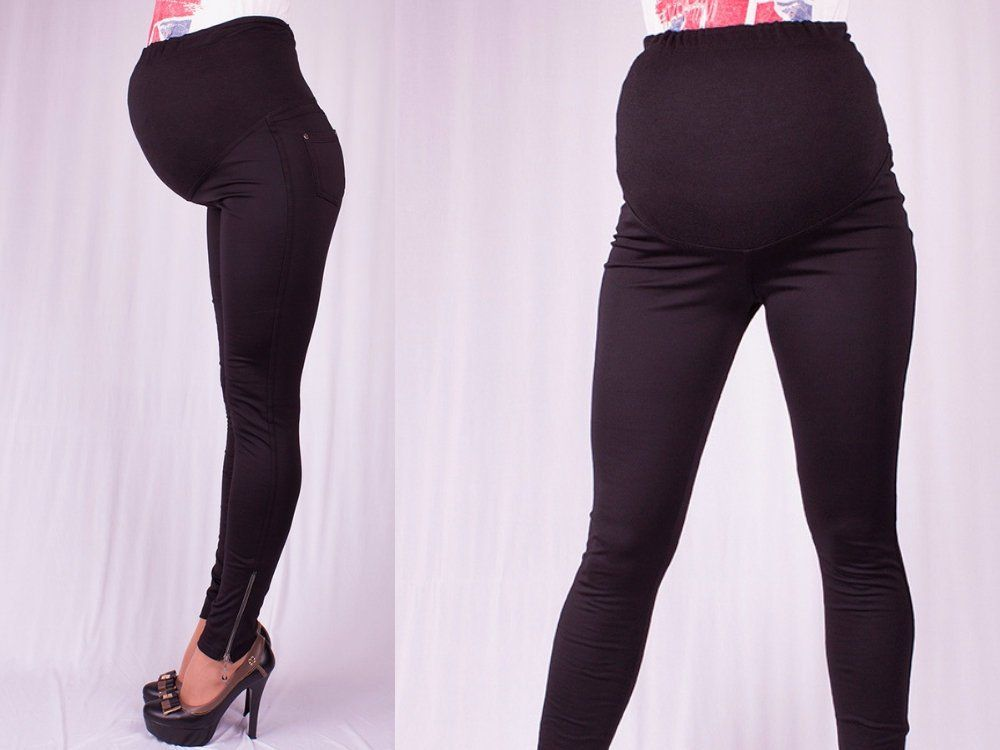 Black Basic Maternity Leggings with side zippers Stylish ...