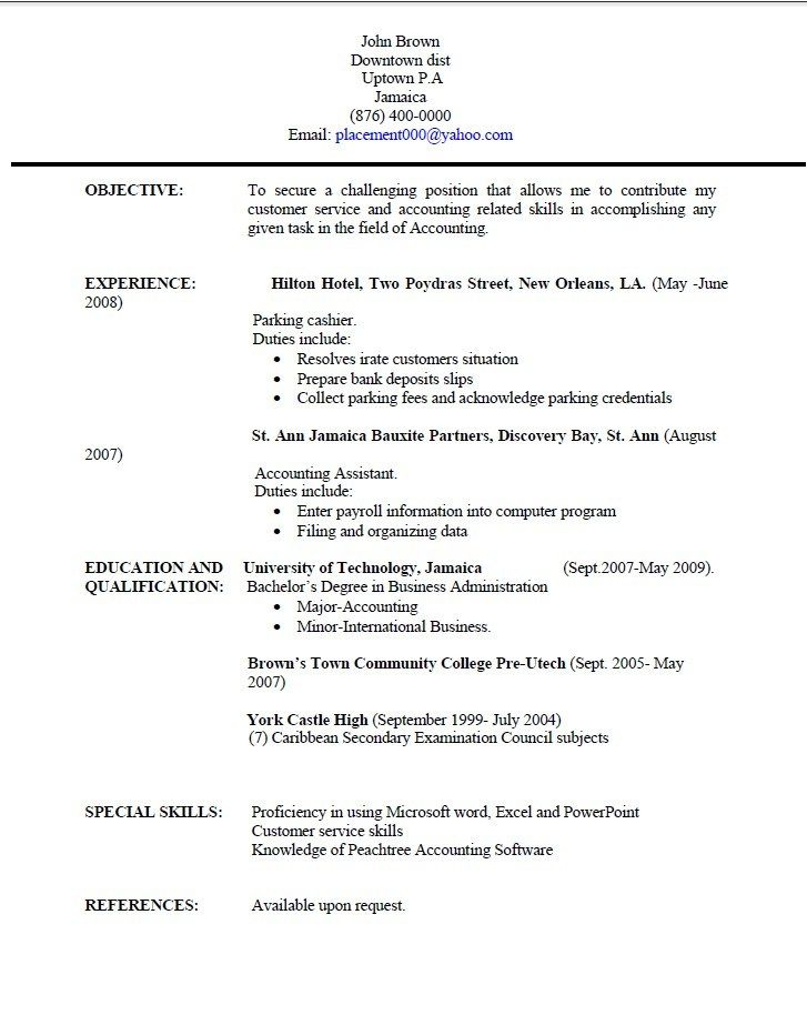Jamaica Resume Templates Pinterest Sample resume, Resume and