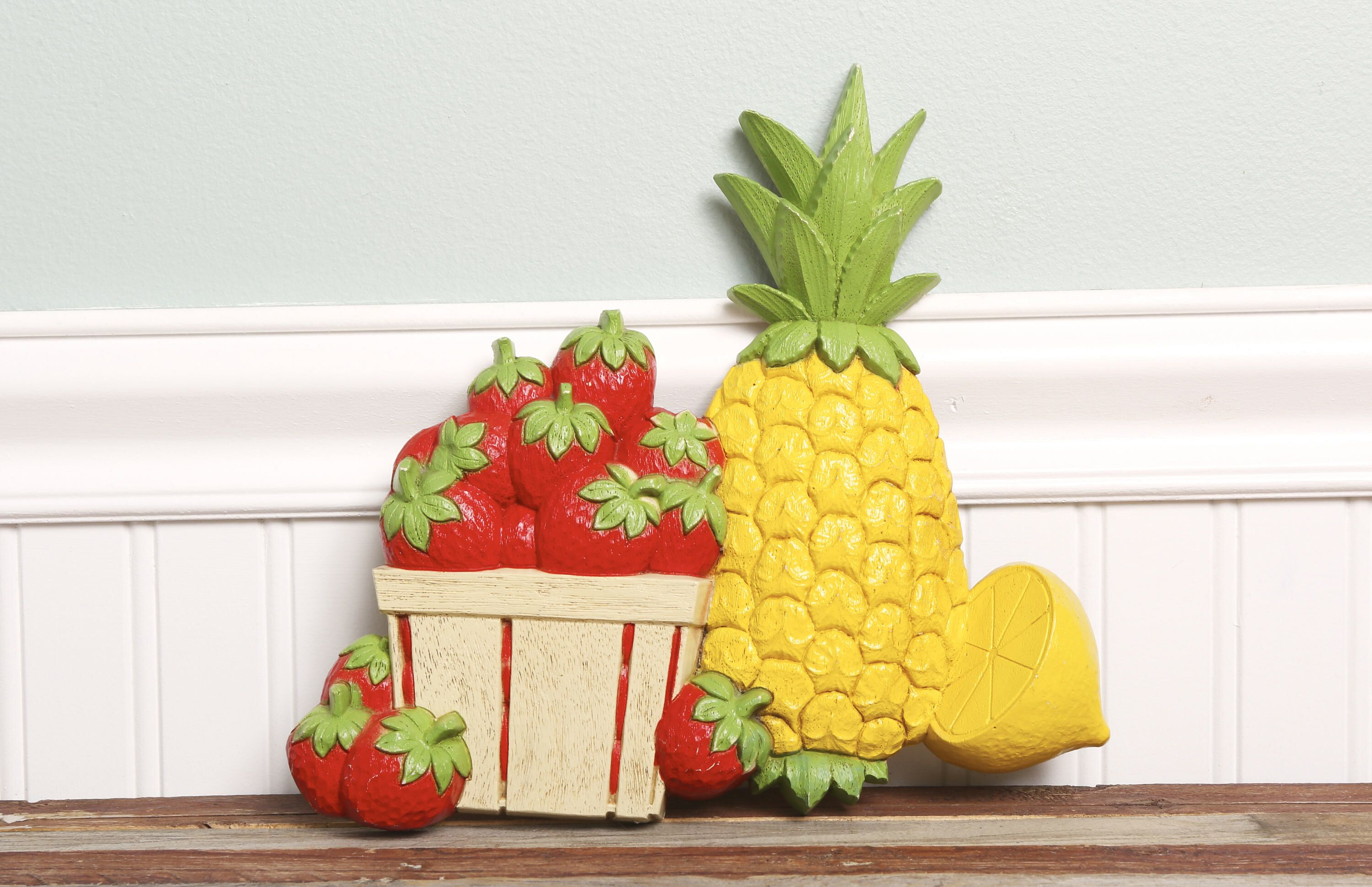 Vintage Kitchen Wall Decor-Retro Pineapple Strawberry Lemon Plastic ...