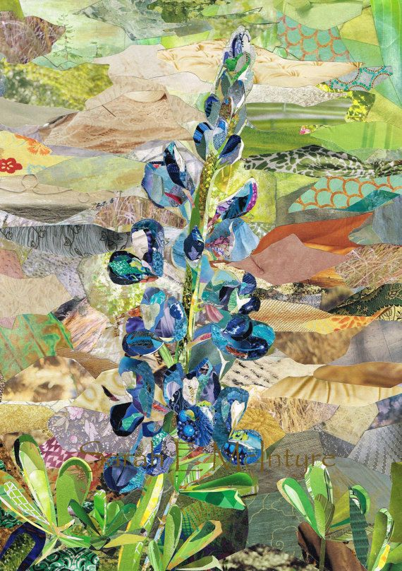 Texas Bluebonnet Original Magazine Collage Etsy In 2020 Nature Collage Art Collage Wall Magazine Collage