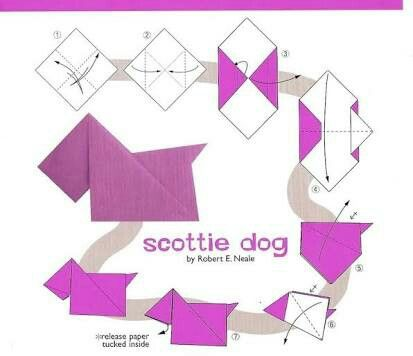 origami scottish terrier fun to make origami paper folding idees rh pinterest com Origami Wolf Diagram Traditional Origami Dog Diagram