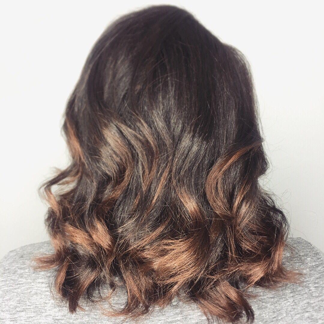 Natural hair silk pressed with beachy waves, Instagram