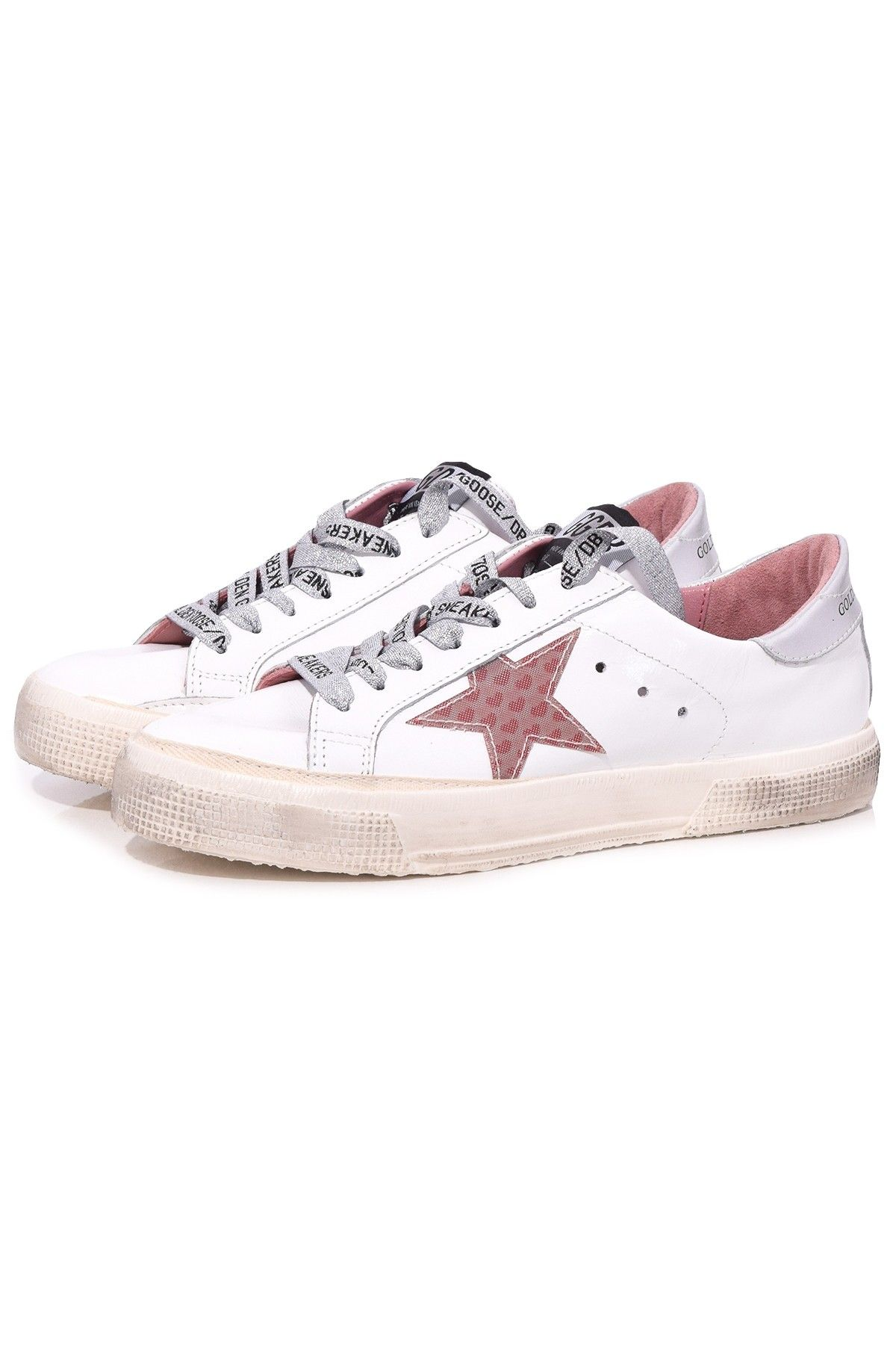 655848e29eb4 Golden Goose May Sneaker in White Shiny Leather/3D Hearts | Hampden ...