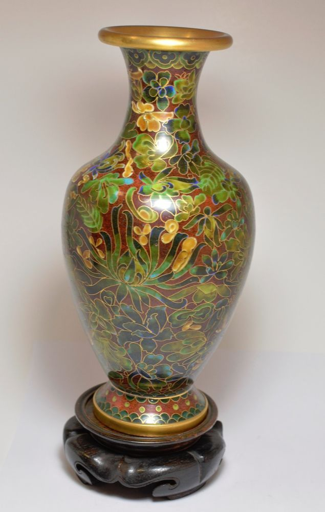 Luckychangusa Chinese Cloisonne Floral Vase With Wooden Stand