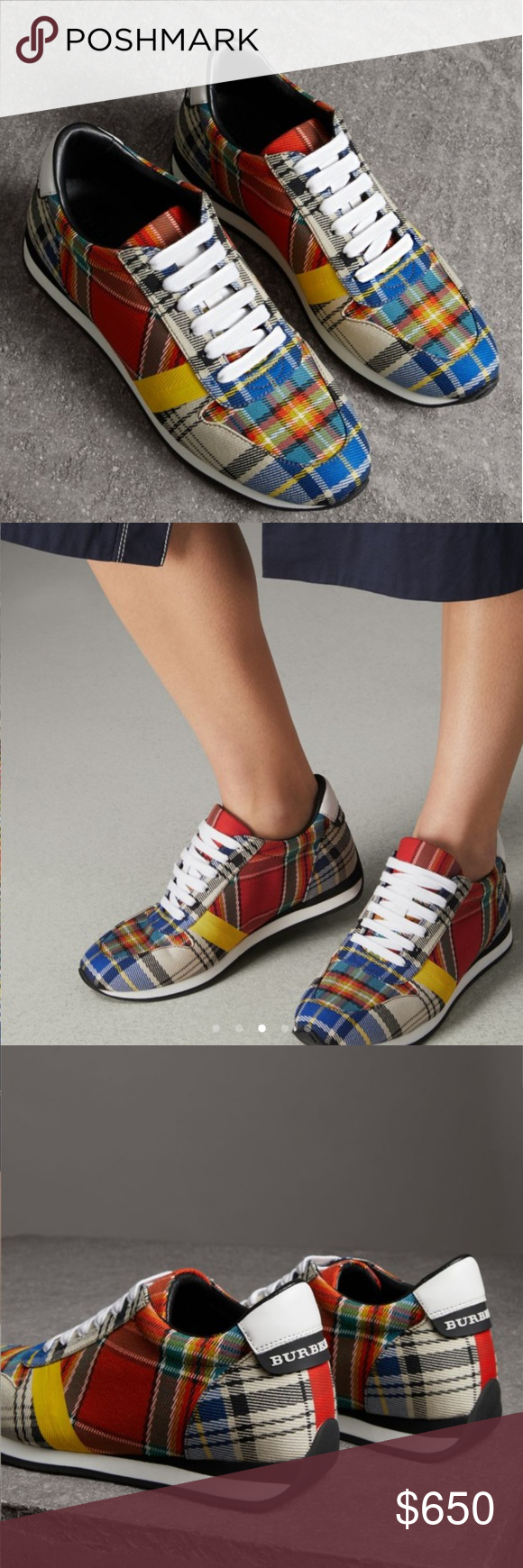 Colorful sneakers, Burberry shoes