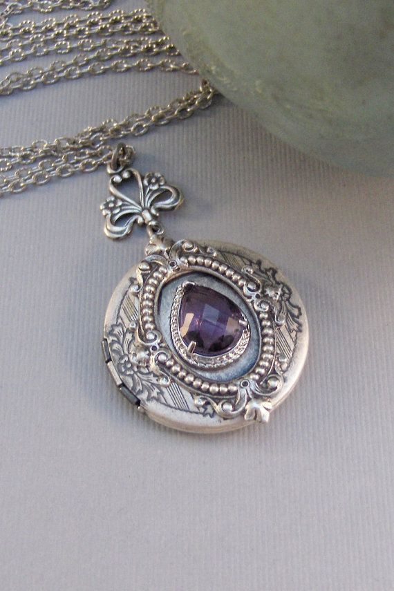 Victorian Amethyst,Locket,Antique Locket,Silver Locket,Amethyst Stone,Rhinestone,Vintage,Purple Stone,Amethyst Birthstone Valleygirldesigns.