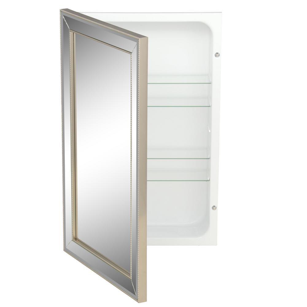 Deco Mirror 16 In W X 26 In H X 5 In D Framed Single Door Recessed Metro Beaded Bathroom Medicine Cabinet In Silver 6297 Single Doors Bathroom Medicine Cabinet Recessed Medicine Cabinet