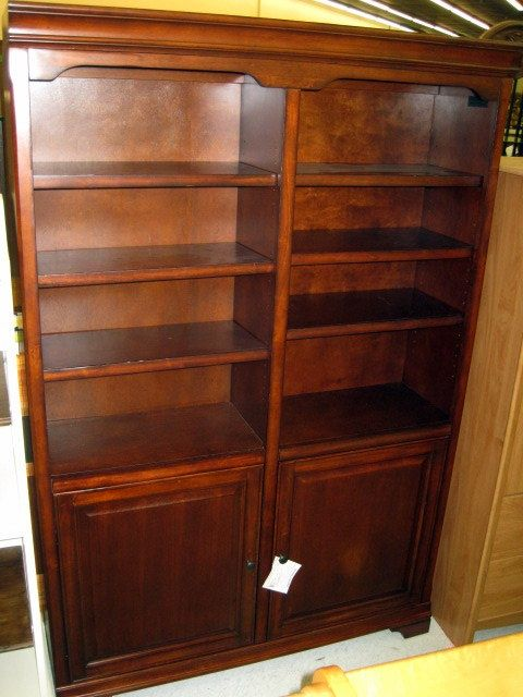 48 X 15 73 Tall Cherry Finish Double Bookcase With 3 Shelves In Each Side
